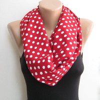 Red polka dots infinity scarf, loop scarf, red or black circle scarf, autumn fashion scarf