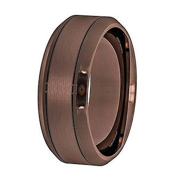 Marcus Men's Brown Tungsten Wedding Band With Beveled Edges - 8 mm