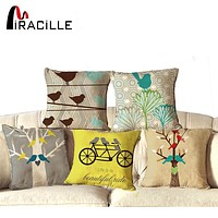 """NEW Cotton Linen Square 18"""" Cute Birds and Tree Printed Decorative Sofa Throw Cushion Pillows Outdoor Home Decor Cojines"""