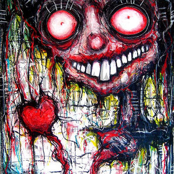 """Print 8x10"""" - I hold you in my heart forever, I miss you more than words can say - Dark Art Horror Monster Creature"""