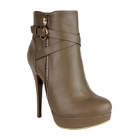 Womens Ankle Boots Strappy Buckle and Zipper Acce Sexy High Heels Taupe