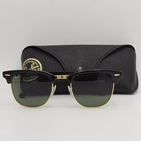 Cheap Ray-Ban Clubmaster RB3016 W0365 Black Gold Frame Sunglasses G15 lenses Ray Ban outlet