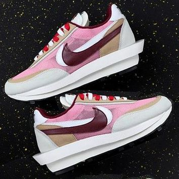Sacai X Nike LVD WAFFLE joint deconstruction hit color running shoes Pink