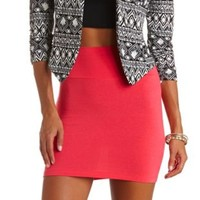 High-Waisted Bodycon Mini Skirt by Charlotte Russe - Coral