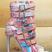 """Harmony Nude Multi Color Snake Open Toe Buckle Strap Ankle Boot - 4.5"""" Heels"""