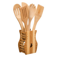 Evelots® Set Of 6 Bamboo Cooking Utensil With Holder, Baking Kitchen Tools