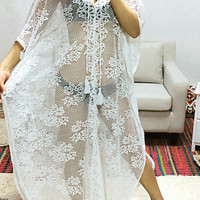 White Lace Long Kaftan Cover-Up