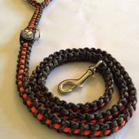 Very Unique Camo and neon orange Para Cord Dog Leash with Compass and round carabiner clip