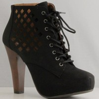 Qupid Puffin-62 Black High Heel Boot Nubuck Lace up Platform Bootie - Perforated High Heel Black Bootie,Puffin-62 Black 8