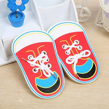 Children Wooden Toys Lacing Shoes Kids Early Baby Montessori Educational Teaching Tie Shoelaces Puzzles