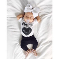 Infant baby girl clothes Cotton rompers o neck short sleeve newborn Jumpsuit Mama Prints playsuit baby Onesuit costume White Y3