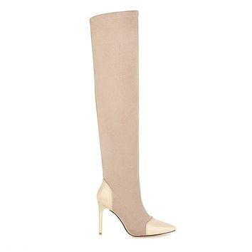 Women Pointed Toe Thin Heel Knee High Boots