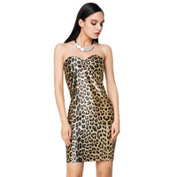 Dress Off Shoulder Bodycon Women Dress Leopard Print Pencil Dresses Strapless Sexy Dress Vestido S-XL SM6