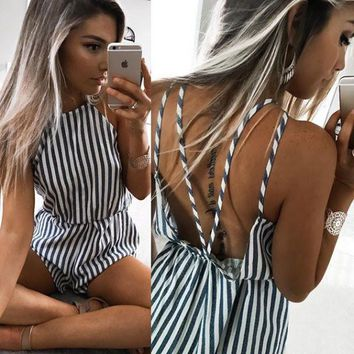 Sex Sling Stripe High Collar Jumpsuit Rompers