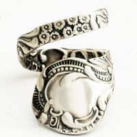 Edwardian Rococo Sterling Silver Spoon Ring, Handcrafted in YOUR Size (1573)
