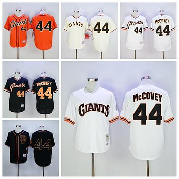 Vintage 44 Willie McCovey Jersey SF San Francisco Giants Willie McCovey Baseball Jerseys Cooperstown Flexbase White Grey Orange Cream Black
