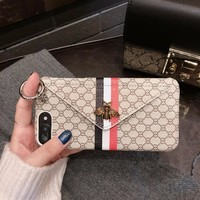 Luxury Classical 3D Metal Bee Phone Case for iPhone X 6 6S 7 8 Plus Fashion Holder Card Pocket Wallet Phone Back Cover