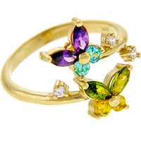 Solid 14K Yellow Gold Cubic Zirconia Butterfly Toe Ring | Body Candy Body Jewelry