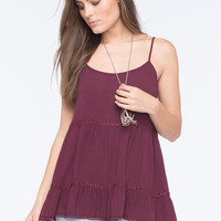 Socialite Tiered Womens Tunic Tank Burgundy  In Sizes