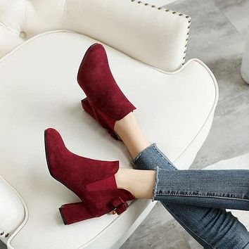 Round Toe Bow Tie Women's High Heeled Ankle Boots