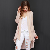 Casual Mesh Long Sleeve Asymmetrical Cardigan