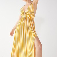 UO Tie-Front Striped Maxi Dress | Urban Outfitters