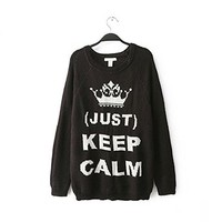 Woman's Crown and Keep Calm Pattern Round Neck Sweater 080854