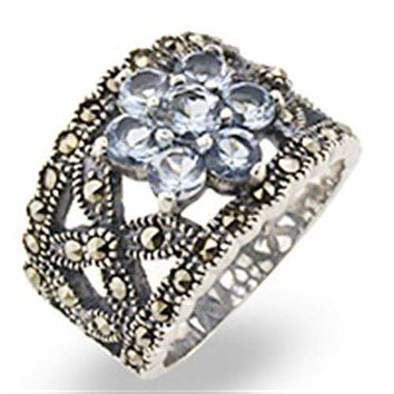 Sterling Silver Ring Set 32330 Antique Tone 925 Sterling Silver Ring