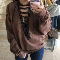 Women V-Neck Hollow Solid Color Strappy Long Sleeve Loose Blouse Top Sweater