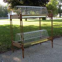 SOLD!  Vintage Record Stand LP 2-Tier Wire Storage Rack Large