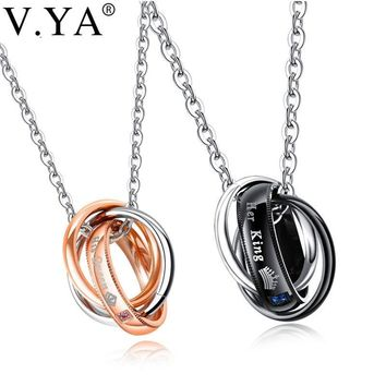 Cool V.Ya Stainless Steel Couple Neckalces Her King His Queen Crystal Custom Name Engraved Jewelry for Lover Valentine' Pendant CharmAT_93_12