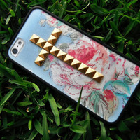 Pink Peony studded Cross iPhone 4/4s and 5 case with bumper
