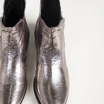 Distressed Metallic Ankle Boots - 6