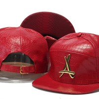 Crocodile Grain hat letters hip-hop hat PU leather snapback Casual Outdoor letter A baseball cap