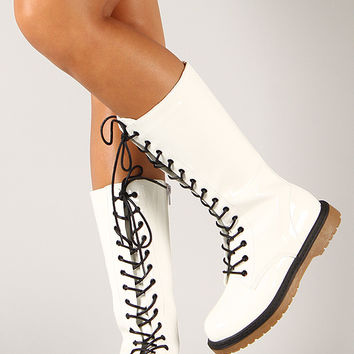 Wild Diva Lounge Raven-15 Patent Military Lace Up Boot