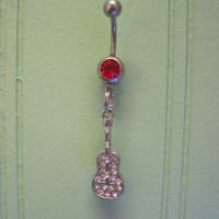 Belly Button Ring - Body Jewelry - Silver Rhinestone Guitar with Red Gem Stone Belly Button Ring