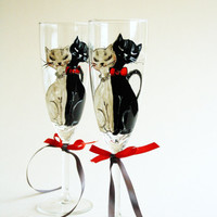 Cats in Love Hand Painted Toasting Vhampagne Flutes Wedding Glasses Set of 2 Black White Red Swarovski Crystals