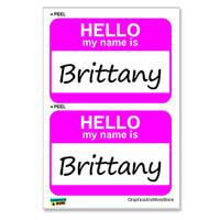 Brittany Hello My Name Is - Sheet of 2 Stickers