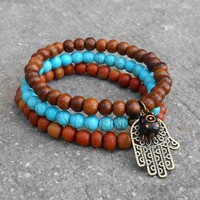 Protection, Set Of Mala Bracelets with Hamsa Charm and Evil Eye