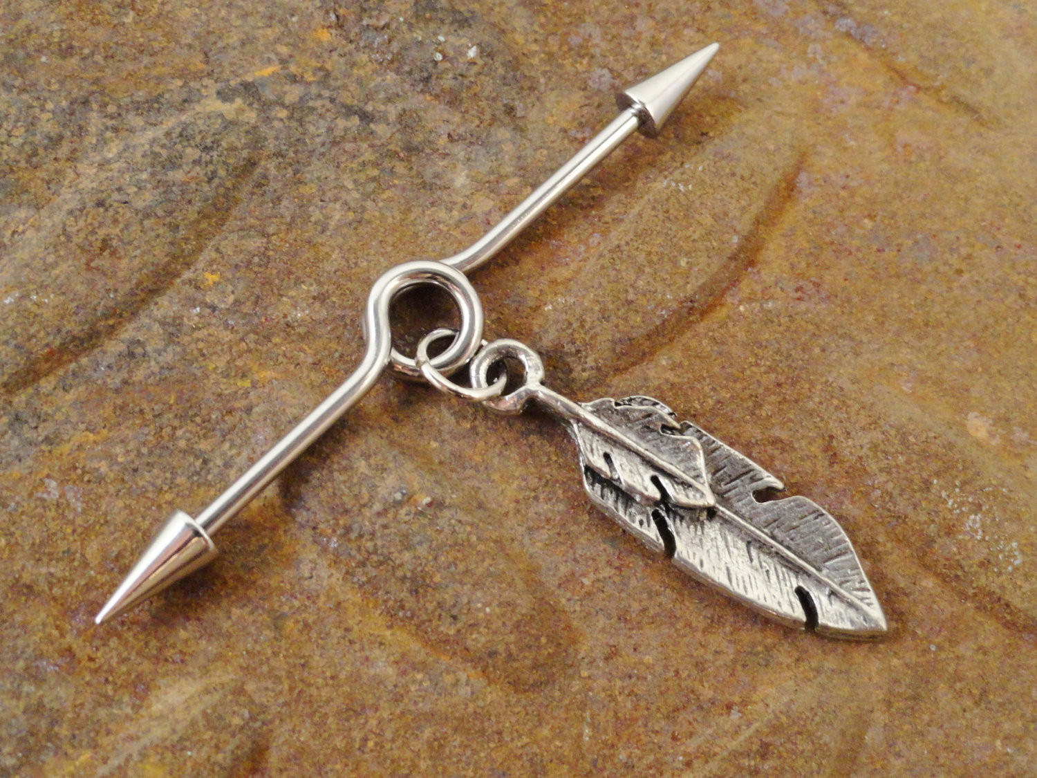 Image of Tribal Silver Feather Industrial Barbell Piercing Upper Ear Surface Piercing