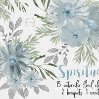 Spiritual | floral elements watercolor, wreath, hand painted, flowers clipart, wedding diy, dusty blue, silver glitter, sage color