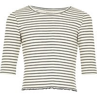 River Island Girls white stripe 3/4 length sleeve top