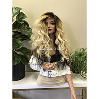 Blonde Ombré Balayage Hair 13x4 SILK TOP SWISS Lace Front Wig - Trifecta 111711