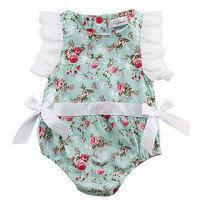 0-24Month Baby Girl Lace Floral Romper  Butterfly Sleeve Jumpsuit Outfits Sunsuit Clothes