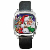 Christmas Santa Claus and Bag of Toys on a Silver Square Watch with Leather Band