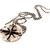 Pablo Valencia-  Sterling Silver Compass Necklace With Diamond