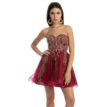 Burgundy Strapless Homecoming Short Dress Embroidered