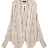 Long-Sleeve None-Button Knitted Cardigan