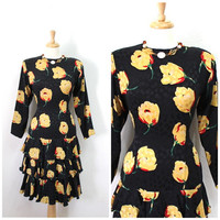 Vintage 60s Dress Black Silk Yellow Floral Tiered Ruffled Flapper Party Cocktail Dress
