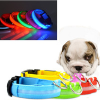 New Nylon Pet LED Dog Collar Night Safety LED Flashing Glow  Pet Supplies Dog Cat Collar Designer Products for Dogs Collars